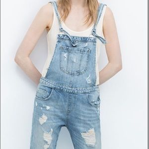 Zara Basic Distressed Denim Overalls